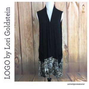 💙LOGO Lori Goldstein black open front vest sz 1X